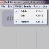 Rack Performer mode selection menu
